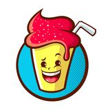 Milkshake Mascot Cartoon Vector Illustration Stock Photos