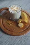 Milkshake met banaan Stock Foto's