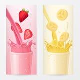 Milkshake owoc Pionowo sztandary z truskawką i bananem zdrowe jeść ilustracja wektor