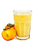 Milkshake with persimmons in a glass Stock Photo