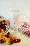 Milkshake with raspberries Royalty Free Stock Photo