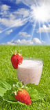 Milkshake saudável da morango fotografia de stock