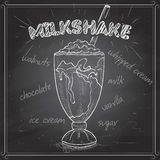 Milkshake scetch on a black board Royalty Free Stock Image