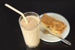 Milkshake and a slice of cake Stock Photo