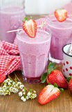 Milkshake with strawberries Stock Image