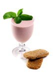 Milkshake with strawberries and cereal crisps. Royalty Free Stock Image