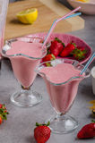 Milkshake strawberries drink. Tasty and delish from fresh strawberries Stock Photography