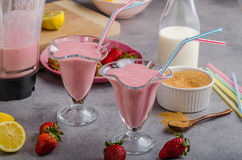 Milkshake strawberries drink. Tasty and delish from fresh strawberries Royalty Free Stock Images