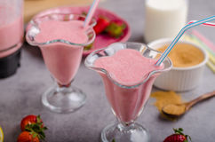 Milkshake strawberries drink. Tasty and delish from fresh strawberries Royalty Free Stock Image