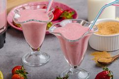Milkshake strawberries drink. Tasty and delish from fresh strawberries Stock Photo
