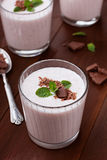 Milkshake with strawberry, chocolate and mint Stock Image