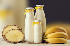 Milkshake taste freshly prepared with banana and pineapple. Heal. Thy Lifestyle. Fitness and diet Stock Photo