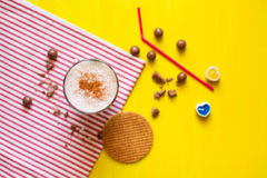 Milkshake with waffles Stock Photos