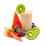Milkshake with watermelon and kiwi Stock Images