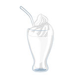 Milkshake with whipped cream in a glass beaker. Cartoon icon. Isolated object on a white background. Vector illustration royalty free illustration
