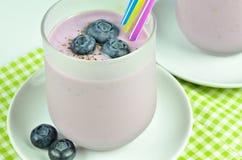 Milkshake Yoghurt Blueberry, Macro Royalty Free Stock Images