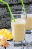 Milkshake with yogurt and mango Royalty Free Stock Images