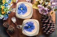 Milkshakepersika & bananer Arkivbilder