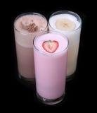 Milkshakes σοκολάτας γεύσης παγωτού συλλογή που απομονώνεται καθορισμένη στοκ εικόνα
