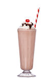 Milkshakes chocolate flavor with cherry on top and whipped. Cream isolated on white background stock images