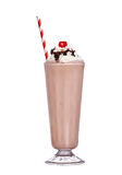 Milkshakes chocolate flavor with cherry on top and whipped cream Stock Photos
