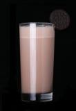 Milkshakes chocolate flavor ice cream on black. Milkshakes chocolate flavor ice cream isolated on black background royalty free stock photography