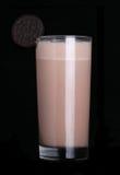 Milkshakes chocolate flavor ice cream isolated on black. Background royalty free stock photos