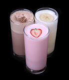 Milkshakes chocolate flavor ice cream set collection isolated stock image