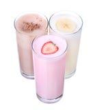 Milkshakes chocolate flavor ice cream set collection isolated. On white background stock photos