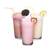 Milkshakes chocolate flavor ice cream set collection isolated. On white background stock photography