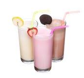 Milkshakes chocolate flavor ice cream set collection isolated. On white background stock photo