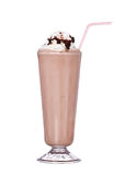 Milkshakes chocolate flavor with syrup and whipped cream royalty free stock photography