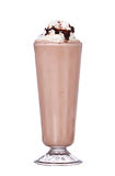 Milkshakes chocolate flavor with syrup and whipped cream. Isolated on white background stock image
