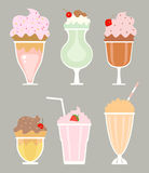 Milkshakes with cream Royalty Free Stock Image