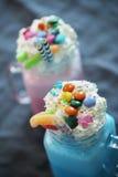 Milkshakes. Delicious milkshakes on the table royalty free stock photography