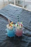 Milkshakes. Delicious milkshakes on the table royalty free stock images