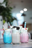 Milkshakes. Delicious milkshakes on the table stock photo