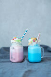 Milkshakes. Delicious milkshakes on the table royalty free stock image