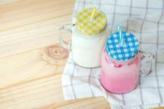Milkshakes. Put on wooden. Pastel tone stock photography