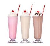 Milkshakes smaku czekoladowego lody ustalona kolekcja Zdjęcia Royalty Free