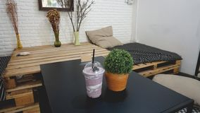 Milkshakes and smoothies. Berry, fruit. in the bed room royalty free stock image