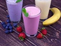 Milkshakes. Strawberry, banana and blueberry milkshakes Stock Photo