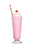 Milkshakes strawberry flavor with cherry and whipped cream. Isolated on white background stock photography