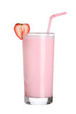 Milkshakes strawberry flavor ice cream isolated on white Stock Photo