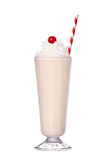 Milkshakes vanilla flavor with cherry on top and whipped cream. Isolated on white background stock image
