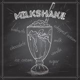 Milkshakescetch på ett svart bräde Royaltyfri Bild