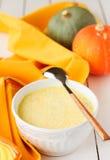 Milky суп тыквы, космос экземпляра для вашего текста Стоковая Фотография RF