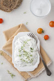Milky appetizer with thyme Royalty Free Stock Images