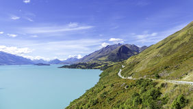 Milky Blue Lake Wakatipu, Southern Lakes, South Island, New Zealand Stock Image