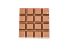 Milky chocolate bar isolated on white background, top view Royalty Free Stock Image